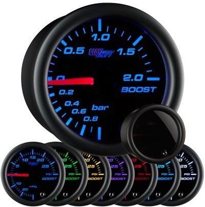 tinted black boost gauge, bar, boost gauge, led boost gauge, 10 color boost gauge, turbo gauge