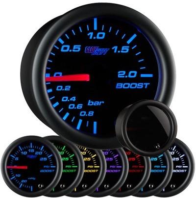 tinted black boost gauge, bar, boost gauge, led boost gauge, 10 color boost gauge, turbo gauge