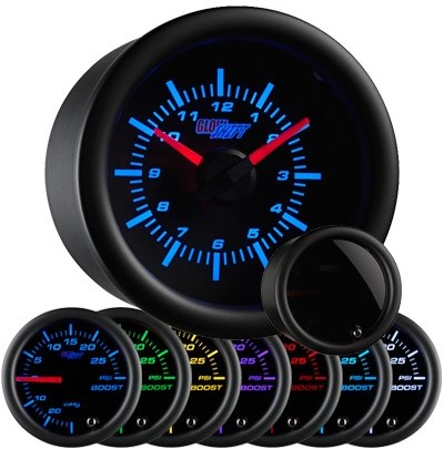 tinted 7 color clock gauge, led clock gauge, black clock gauge, led clock for car