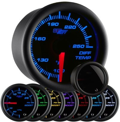 tinted 7 color differential temperature gauge, black face differential gauge, led differential gauge, truck differential gauge