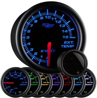 tinted black face exhaust gas temperature gauge, 1500 degree, egt gauge, led exhaust gauge, 7 color exhaust gauge