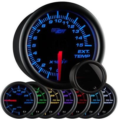 tinted black face exhaust gas temperature gauge, 1500 degree, egt gauge, led exhaust gauge, 7 color exhaust gauge