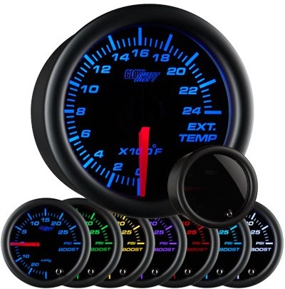 tinted black face exhaust gas temperature gauge, 2400 degree, egt gauge, led exhaust gauge, 7 color exhaust gauge