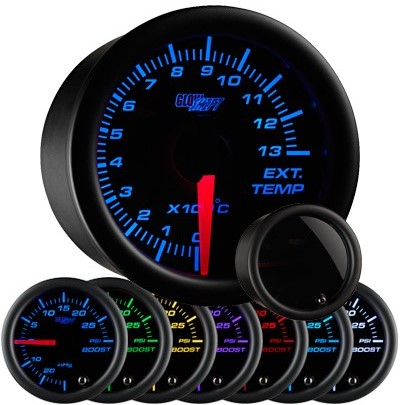 tinted black face celcius exhaust gas temperature gauge, 1300 degree celsius, egt gauge, led exhaust gauge, 7 color exhaust gauge