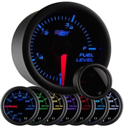 tinted 7 color fuel level gauge, led fuel level gauge, black fuel gauge, led gas gauge