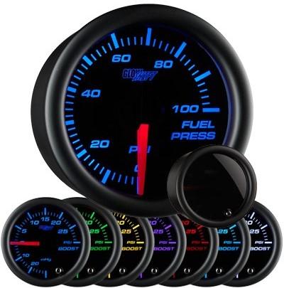 tinted 7 color fuel pressure gauge, black face fuel pressure gauge, 100 psi fuel gauge