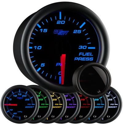 tinted 7 color fuel pressure gauge, black face fuel pressure gauge, 30 psi fuel gauge