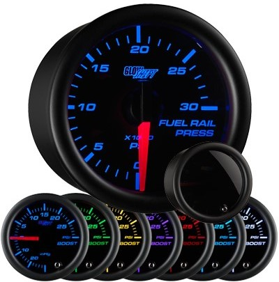 tinted 7 color fuel rail pressure gauge, black face fuel rail pressure gauge, 30000 psi fuel gauge