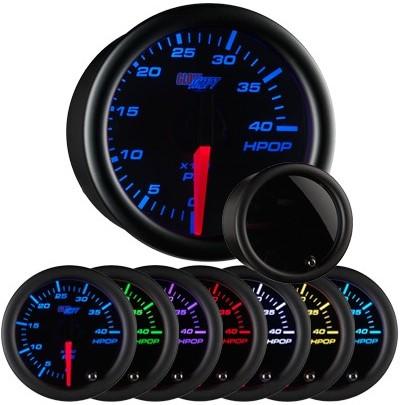 tinted black face oil pressure gauge, hi pressure oil gauge, led oil pressure gauge