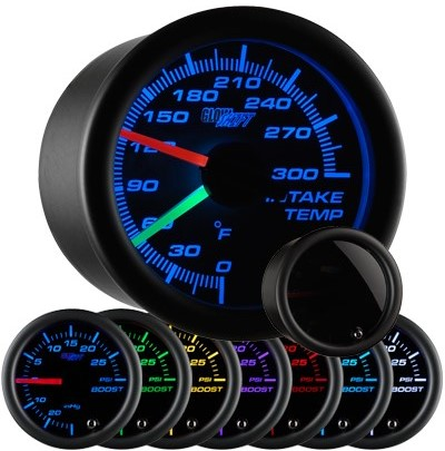 tinted intake temperature gauge, led intake temperature gauge, intake gauge, black air temp gauge, led air temperature gauge