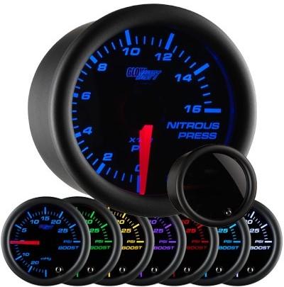 tinted 7 color nitrous pressure gauge, led nitrous pressure gauge, black nos gauge, led nos gauge