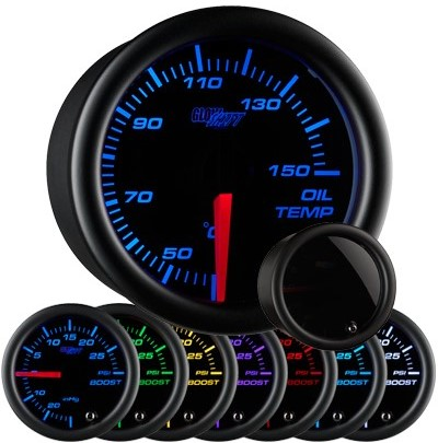 tinted 7 color oil temperature gauge, celsius oil temp gauge, black face oil temp gauge, engine oil temp gauge, led oil gauge