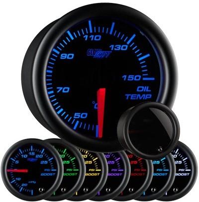 tinted 7 color oil temperature gauge, celsius oil temp gauge, black face oil temp gauge, engine oil temp gauge, led oil gauge