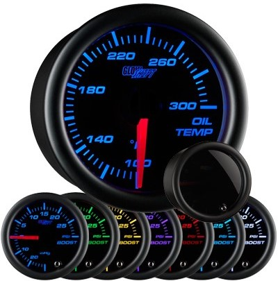 tinted 7 color oil temperature gauge, black face oil temp gauge, engine oil temp gauge, led oil gauge