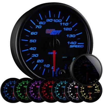tinted 7 color speedometer, led speedometer gauge, speedometer gauge, black speed gauge, led speed gauge
