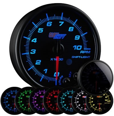 tinted 7 color tachometer, led tachometer gauge, tach gauge, black tack gauge, led tack gauge