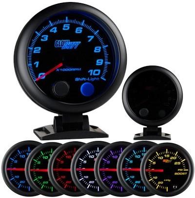 tinted 7 color tachometer, led tachometer gauge, tach gauge, black tack gauge, led tack gauge