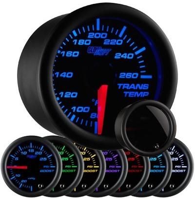 tinted black face transmission temperature gauge, trans temp gauge, led transmission gauge, 7 color transmission temp gauge