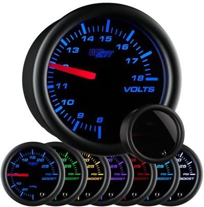 tinted 7 color, black face, volt , gauge, led volt gauge, 12 volt gauge