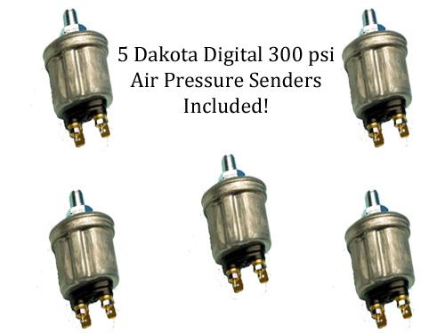 air pressure gauge, dakota digital air, 19-4-5-hp, digital air gauge, tank pressure, air bag pressure, sender