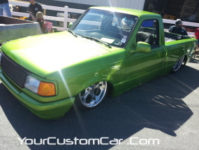 2011 drop em wear show, lime green ranger, custom ranger, minitruck on air bags