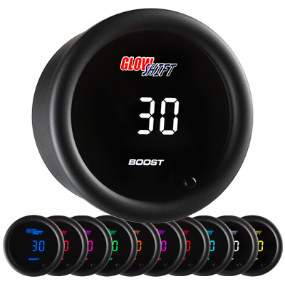 digital boost gauge, 10 color boost gauge, glowshift boost gauge