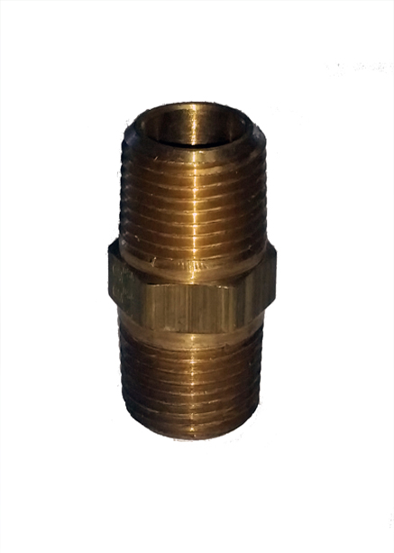 air fitting nipple, hex, 3/8 male, npt, fitting, air suspension, nickel plated