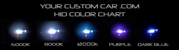 hid color chart, hid kit, xenon, conversion kit, for cars, custom head lights