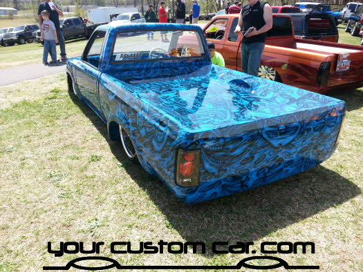 layed out at the park, 2013, yourcustomcar, truck show, car show, custom paint minitruck