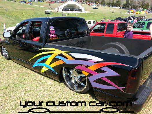 layed out at the park, 2013,tribal paint graphics, yourcustomcar, truck show, car show