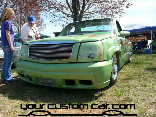layed out at the park, 2013,escalade conversion on silverado, yourcustomcar, truck show, car show