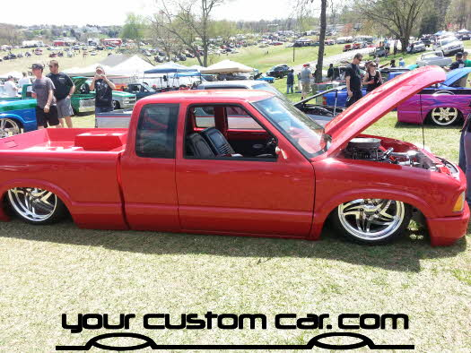 layed out at the park, 2013, yourcustomcar, truck show, car show, custom red s10, on airbags