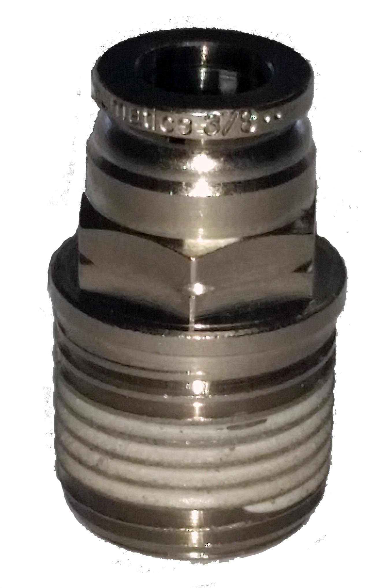 air fitting, air bag suspension, 1/2 inch, 3/8 inch, push to connect, metal, air ride, air bag, ptc-1238