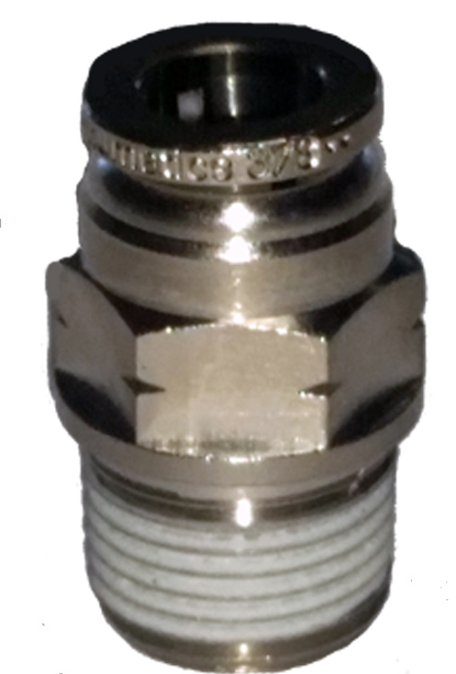 air fitting, air bag suspension, 3/8 inch, push to connect, metal, air ride, air bag, ptc-3838