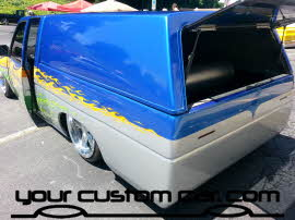 custom minitruck bed, friends in low places, car show