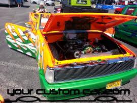 custom B2000, crazy mazda, hydraulics, wild paint job, friends in low places, custom car show, custom truck show