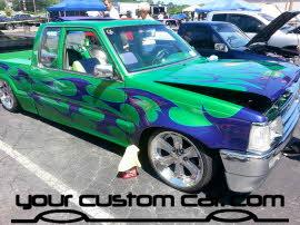 custom B2200, custom mazda truck, flame paint job, wild paint job, friends in low places, custom car show, custom truck show