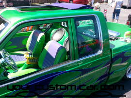 custom B2200, custom mazda truck, flame paint job, wild paint job, friends in low places, custom car show, custom truck show