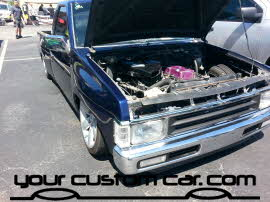 custom minitruck, chrome engine, friends in low places car show, custom wheels