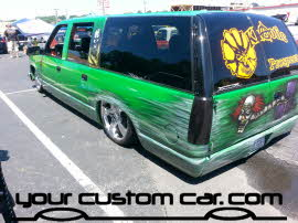 custom suburban, friends in low places, car show