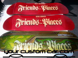friends in low places, car show, custom painted, skate board deck