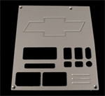 91, 92, 93, 94,chevrolet, gmc, radio plate blank with chevy bowtie and 2 windows, empire rb2b2p