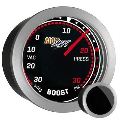 tinted red, black, boost gauge, 30psi, boost gauge, led boost gauge, turbo gauge