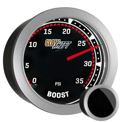 tinted, red, black face boost gauge, 35 psi boost gauge, led boost gauge, 35 pound boost gauge