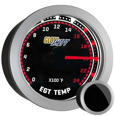tinted, red, black face exhaust gas temperature gauge, 2400 degree, egt gauge, led exhaust gauge, classic exhaust gauge