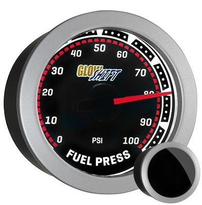 tinted, fuel pressure gauge, black face, fuel pressure gauge, 100 psi fuel gauge