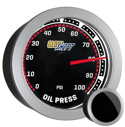 tinted, black face oil pressure gauge, led oil pressure gauge, oil press gauge, psi oil pressure gauge