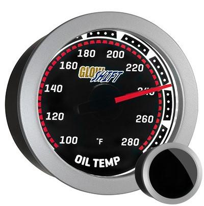 tinted, oil temperature gauge, black face, oil temp gauge, engine oil temp gauge, led oil gauge