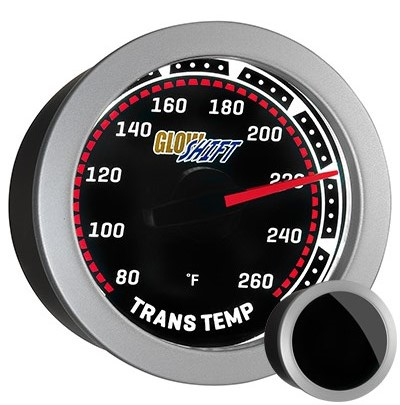 tinted, black face, transmission temperature gauge, transmission temp gauge, led transmission gauge, classic transmission temp gauge