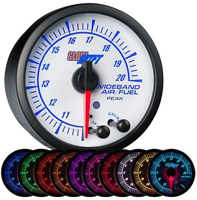 10 color, white, elite, wide band air fuel ratio gauge, wideband air fuel ratio gauge, white afr gauge, led afr gauge, wide band afr gauge